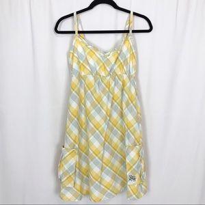 Roxy Girls Yellow Plaid Cotton Sundress Sz XL